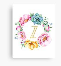 Watercolour floral initial wreath letter Z Canvas Print