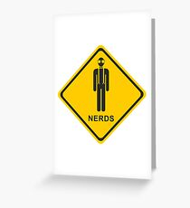 Nerd - Sign - Yellow - Attention Greeting Card