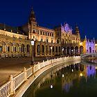 Andalusian Night Magic - the Magnificent Plaza de Espana in Seville Spain by Georgia Mizuleva