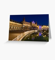 Andalusian Night Magic - the Magnificent Plaza de Espana in Seville Spain Greeting Card