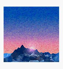 Polygonal Mountains, Oil Painting Photographic Print