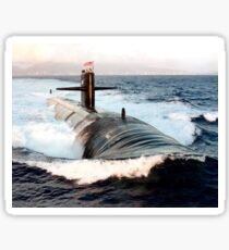 Starboard bow view of Attack Submarine, USS Los Angeles. Sticker