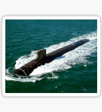 The Seawolf-class nuclear-powered attack submarine USS Jimmy Carter underway during sea trials. Sticker