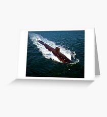 The Seawolf-class nuclear-powered attack submarine USS Jimmy Carter underway during sea trials. Greeting Card