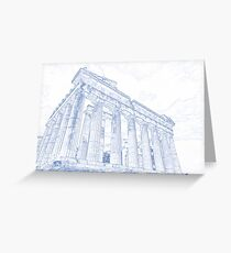 Blueprint drawing of Greece Palace  Parthenon Iconic Ruins Greeting Card