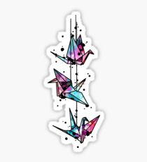 White Crane Watercolor Origami Sticker