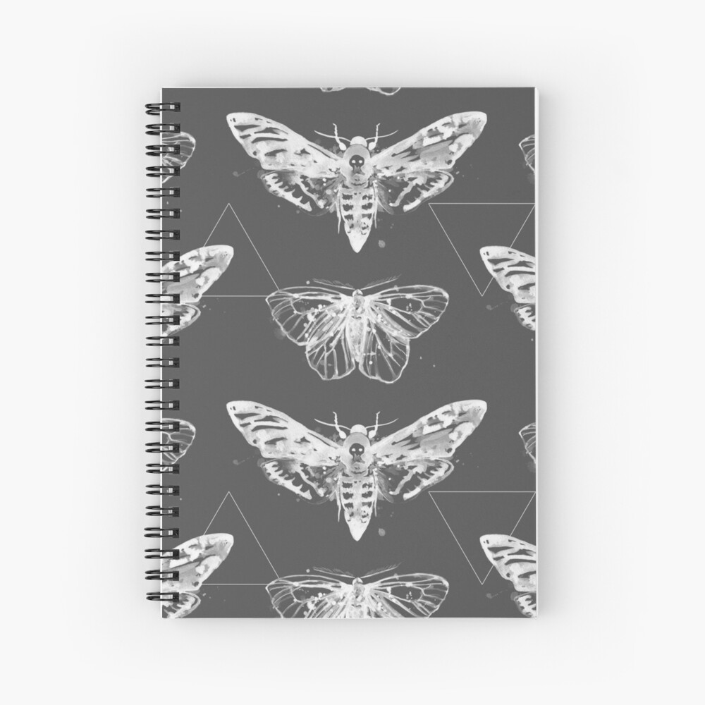 Geometric Moths - inverted Spiral Notebook