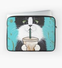 Tuxedo Cat with Iced Coffee Laptop Sleeve
