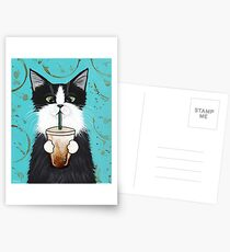 Tuxedo Cat with Iced Coffee Postcards