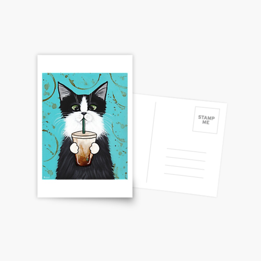 Tuxedo Cat with Iced Coffee Postcard