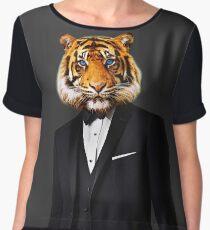 Tuxedo Tiger Women's Chiffon Top