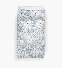 Cephalopods: White and Blue Duvet Cover