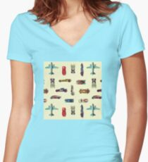 Vintage, retro seamless pattern with hot wheels cars Women's Fitted V-Neck T-Shirt