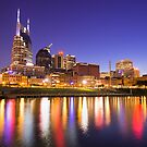 Nashville Skyline at Night on the Cumberland River by Gregory Ballos