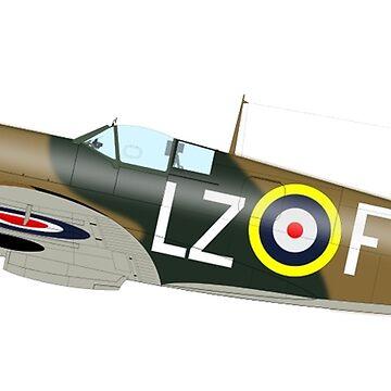 SPITFIRE, WAR BIRD, War Plane, British, Airplane, Fighter, WWII, 1942,  by TOMSREDBUBBLE