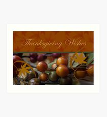 Thanksgiving Wishes, Berries and Leaves Art Print