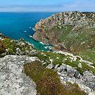Porthmoina cove and Bosigran cliff Cornwall by eddiej