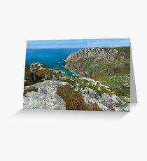 Porthmoina cove and Bosigran cliff Cornwall Greeting Card
