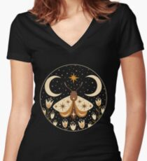 Between two moons Women's Fitted V-Neck T-Shirt