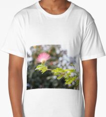 Delicate flower of pink  mimosa tree in sunlight closeup Long T-Shirt
