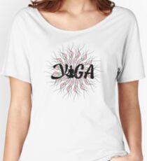 Yoga Motivational Text On White And Pink Mandala Graphic Art Women's Relaxed Fit T-Shirt