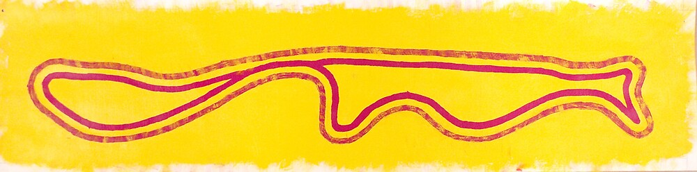 Pink line with Yellow background by Katrina Rogers
