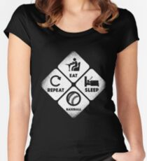 Eat, Sleep and Baseball Women's Fitted Scoop T-Shirt