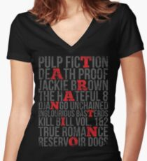 QUENTIN TARANTINO MOVIES VINTAGE GRUNGE STYLE Women's Fitted V-Neck T-Shirt