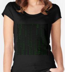 """Buy Bitcoin"" Matrix Print Women's Fitted Scoop T-Shirt"