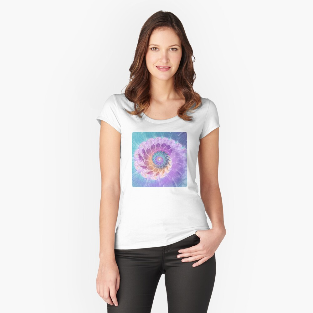 Painted Fractal Spiral in Turquoise, Purple and Orange Women's Fitted Scoop T-Shirt Front