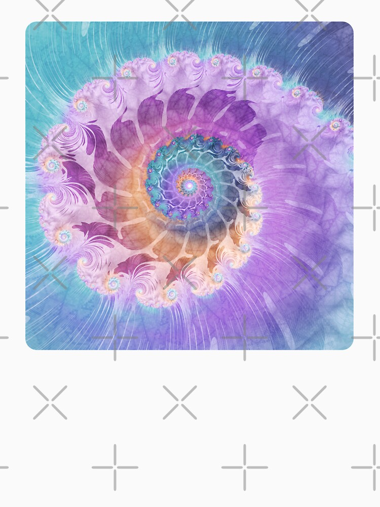 Painted Fractal Spiral in Turquoise, Purple and Orange by kellydietrich
