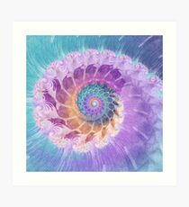Painted Fractal Spiral in Turquoise, Purple and Orange Art Print