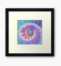Painted Fractal Spiral in Turquoise, Purple and Orange Framed Print