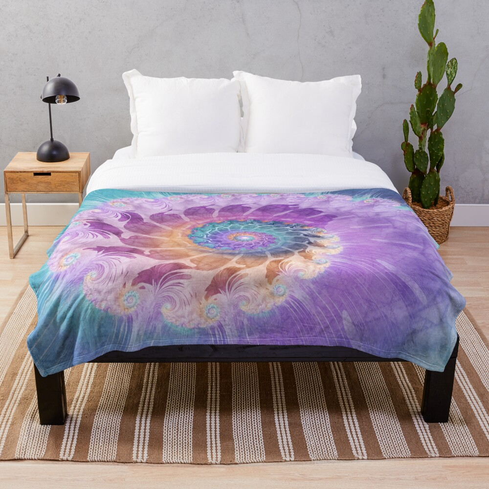 Painted Fractal Spiral in Turquoise, Purple and Orange Throw Blanket