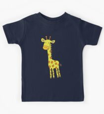 Happy Giraffe - cute cartoon yellow on blue - Cute Giraffe by Cecca Designs Kids Tee
