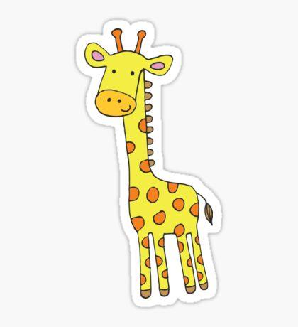 Happy Giraffe - cute cartoon yellow on blue - Cute Giraffe by Cecca Designs Sticker