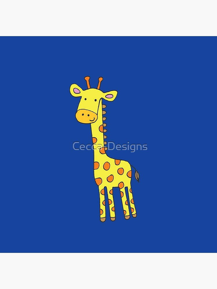 Happy Giraffe - cute cartoon yellow on blue - Cute Giraffe by Cecca Designs by Cecca-Designs