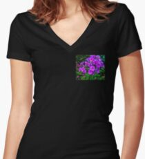 purple floral etude Women's Fitted V-Neck T-Shirt