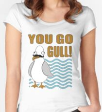Funny Mustache Seagull You Go Gull Women's Fitted Scoop T-Shirt