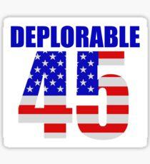 Deplorable 45  Sticker