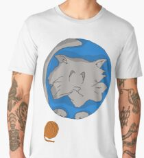 Cat planet with Yarn moon Men's Premium T-Shirt
