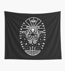 Knowledge - White/Skull Wall Tapestry