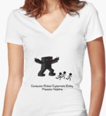 Computer/Robot/Cybernetic Entity Disaster Helpline Women's Fitted V-Neck T-Shirt