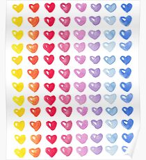 Multicolor Watercolor Hearts Pattern Poster