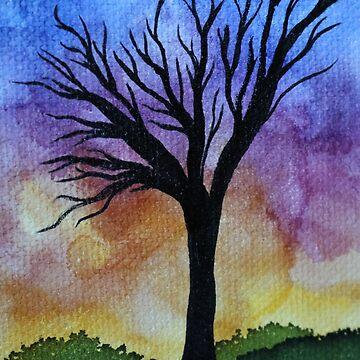 Sunset Tree by emederart