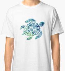 Watercolor blue and green sea turtle design  Classic T-Shirt