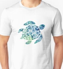 Watercolor blue and green sea turtle design  Slim Fit T-Shirt