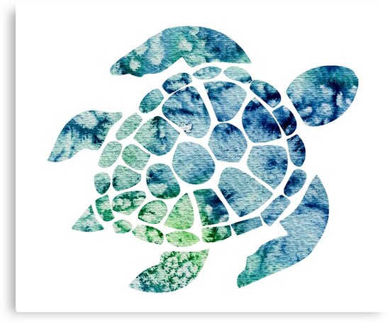 Watercolor Blue And Green Sea Turtle Design Canvas Print By