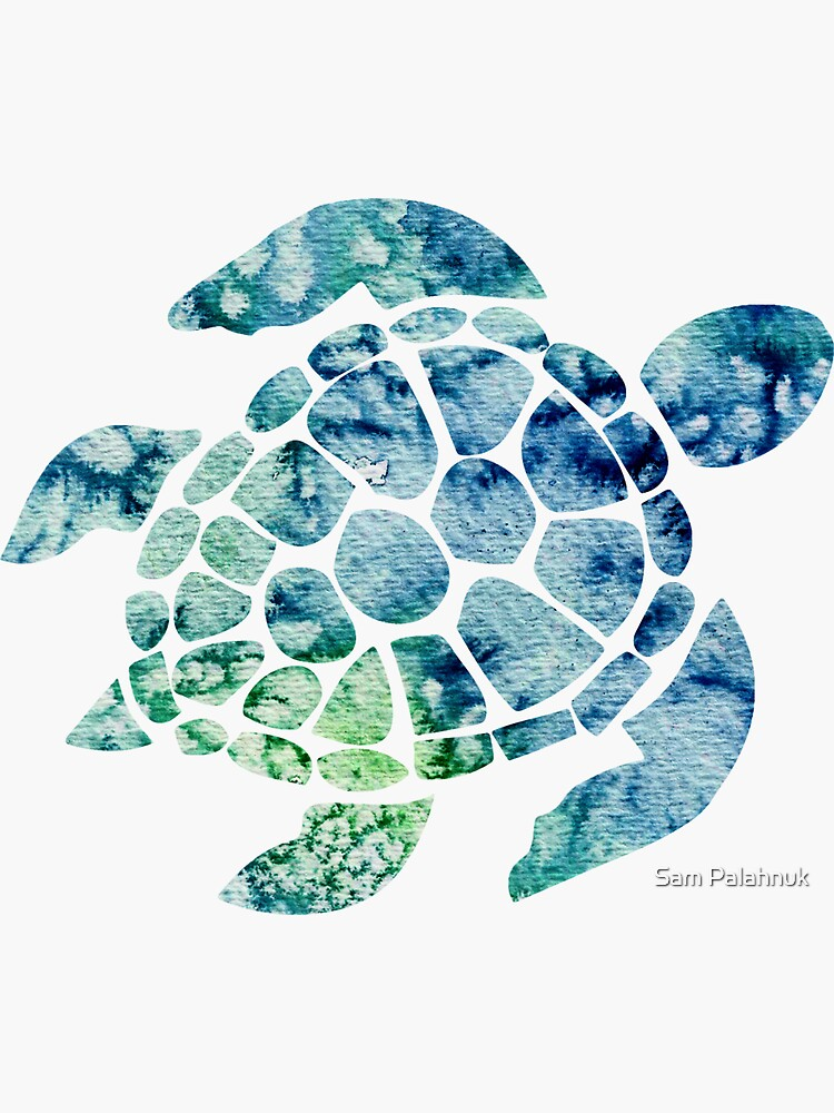 Watercolor blue and green sea turtle design  by sampalahnukart