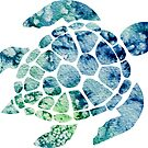 Watercolor blue and green sea turtle design  by Sam Palahnuk